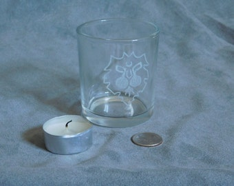 world of warcraft inspired Alliance glass tea candle holder with one candle