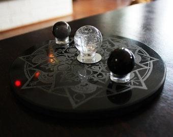Handmade 6 inch Granite Moon Phase Mandala Travel Altar, Crystal Grid