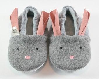 Bunny Slippers- Gift for Kids- Toddler Slippers- Baby Shoes- Baby Bunny Outfit- Bunny Costume- Wool Bunny- Bunny Ears- Pajamas