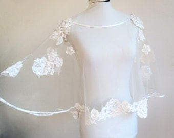 Transparent Cape for white lace wedding dress accessory, wedding, Bridal, stole embroidered lace