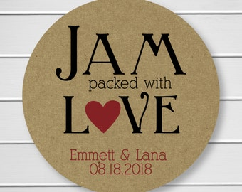 Jam Packed with Love, Love Is Sweet, Wedding Favor Sticker, Wedding Stickers, Wedding labels (#216-KR)