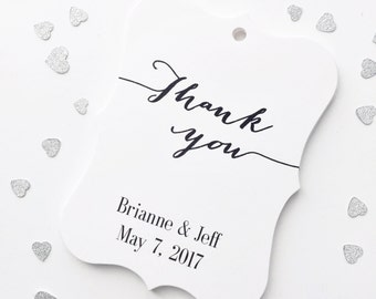 Thank You Wedding Tags, Thank You Tags, Customized Wedding Tags, Custom Wedding Favor Tags (EC-009)
