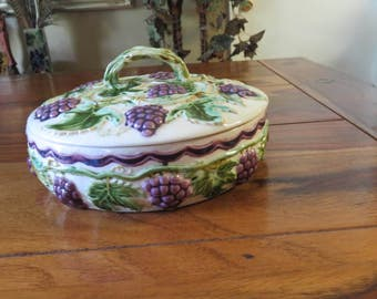 Beautiful Vintage Porcelain Round Serving  Bowl And Lid With Raised Grape  And Grape Vine Designs