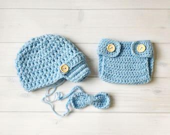Newborn Baby Boy Photo Prop Handmade Crochet Diaper Cover, Crochet Diaper Cover Hat and Bow Tie Set * Sky Blue
