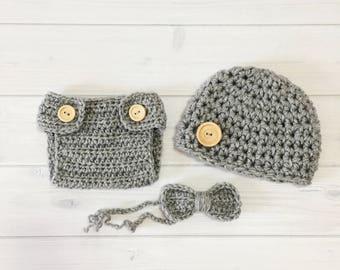 Ready Ship ! Newborn Baby Boy Photo Prop Handmade Crochet Diaper Cover, Crochet Diaper Cover Hat and Bow Tie Set * Silver Gray *