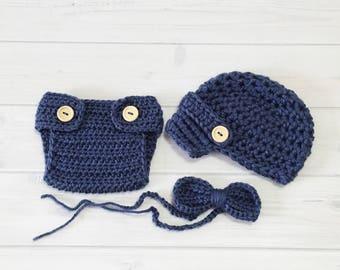 Ready Ship! Newborn-3M Baby Boy Photo Prop Handmade Crochet Diaper Cover, Crochet Diaper Cover Hat and Bow Tie Set * Denim Blue *