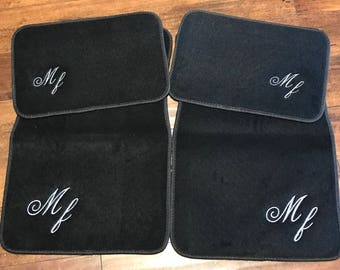 Car Floor Mats Custom BLACK Personalized Corner Embroidered Monogrammed, Set of 4 Mats, New Teen Driver Gift, New Car Present and Accessorie