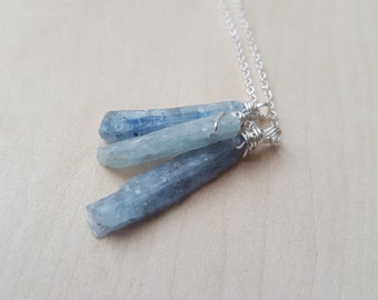 Trio of Raw Blue Kyanite Crystals Necklace on Silver Chain