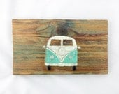 Sea Glass VW Bus glass mosaic Volkswagen bus  beach glass art glass surfmobile art surf wall decor beach house decor travel decor