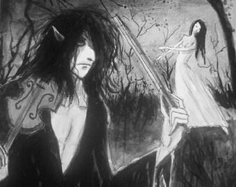 Devil Demon Painting Gothic Fantasy Art Original Black Ink Painting, Dance for the Devil, Woman Dancing Man Violin Measures 8x10  MPrince