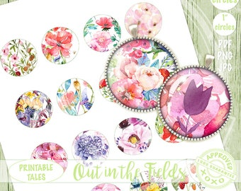 Floral Pendant Images, circles 1 inch + 1.5 inch. Flowers Bottle Caps, Printable Collage Sheet, jewelry supply, watercolor scrapbook element