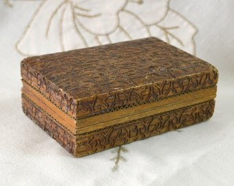 """Tiny Wooden Stamp Box or for Cufflinks, Shirt Studs, Trinkets, Treasures etc -  Patterned Natural Wood with Metal Inlay - 75 x 50mm / 3 x 2"""""""