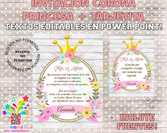 invitation Crown Princess flowers + thank you card - editable texts - instant download