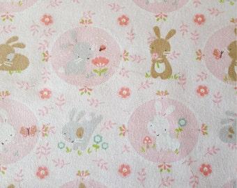 Precious Bunnies Flannel Fabric by the yard