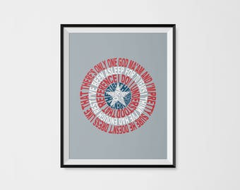 Avengers Typography - Captain America's Shield