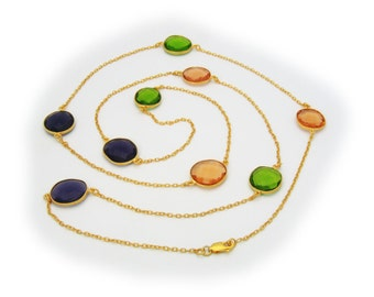 18K Gold Plated Sterling Silver Necklace | Multi Color Natural Stone 201115
