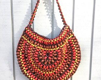 80's Purse,Wooden Beaded,Shoulder Purse,Vintage Bead Purse