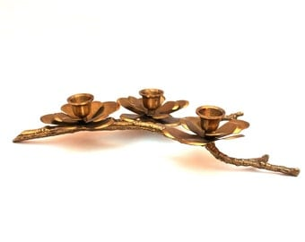Brass Tree Branch Flowers Blossoms Candle Holder , Triple Candle Holder , Brass Branch Candle Holder , Triple Flower Candlestick Holder