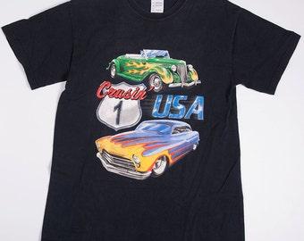 Vintage Hot Rod Cars Print 90s Tshirt