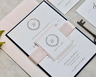 Blush and Navy Wedding Invitations,  Wedding Invitations, Navy Wedding Invitations, DEPOSIT to begin your order