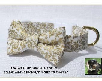 Gold Floral Bow Tie Collar~Wedding Dog Collar~Bow Tie Dog Collar~Removable Bow Tie~White Side Release Buckle~Wedding Dog Attire~Dog Wedding~