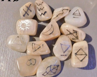 Divination & Psychic Awareness ~ Authentic 13 piece set Natural Moonstone Gemstone Runes Pocket/Altar/Chakra Bag