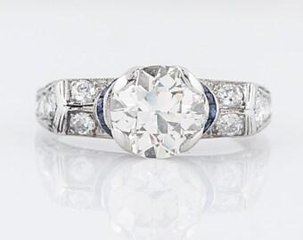 Antique Engagement Ring Art Deco 1.50 Transitional Cut Diamond in Platinum