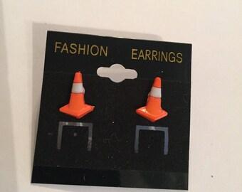 Tiny Orange Cone Earrings!