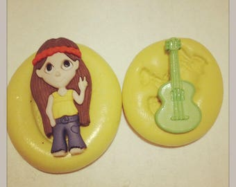 HippIe Girl With Guitar Silicone MOLD