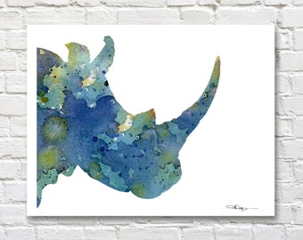 Blue Rhino Watercolor - Abstract Rhinoceros Painting - Wall Decor