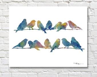 "Bird Art Print - ""Blue Finches"" - Abstract Bird Art - Watercolor Painting - Wall Decor"