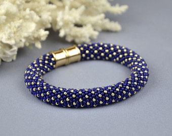 Seed bead bracelet Womens bracelet Beaded bracelet for women Gift for daughter Dark blue Bracelet for her Birthday gift idea boho jewelry