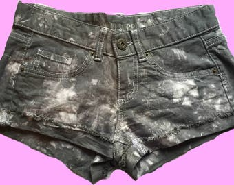 Tie Dye Shorts Grey and White Women's Fashion Hippie Clothes Festival Outfit Unique and Handmade