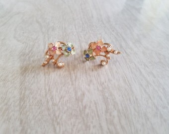 Vintage Screw back Earrings in Pastel Green and Orange Flowers