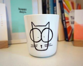 Handpainted Mug - Cat in Glasses