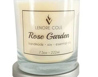 Rose Garden Luxury Scented Candle, 7.5oz, Rose Candle, Rose Soy Candle
