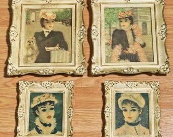 Set of 4 Vintage Huldah Framed Artwork Illinois Moulding Chicago