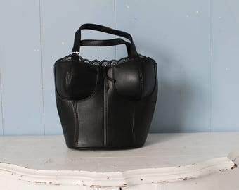 Vintage 90s Small Handbag/90s Mini Purse/Black Leather Bustier/Corset/Goth/Steampunk/Street Style/