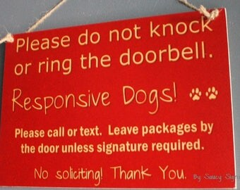 Red Responsive Dogs Do Not Knock Warning No Soliciting Door Sign