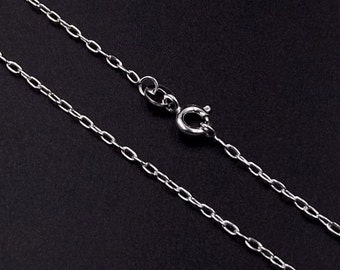 """20"""", 24"""" Sterling Silver Chain 1.7mm Links   51 cms, 61 cms - 20, 24 Inch Solid Silver 925 Slim Cable Link Chain For Pendants Or Lockets"""