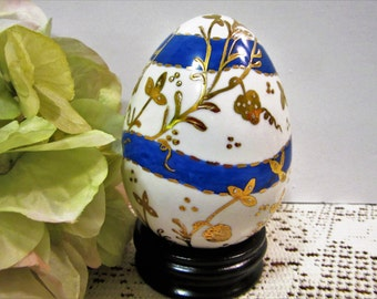 Egg Easter Decorations Porcelain Ceramic Home Decor Hand Painted with Stand blm