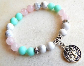 Bracelet natural stones in color blue / pink/ white and silver, ethnic style