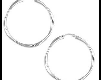 Pair Of 925 Large Real Sterling Silver Twisted Hoop Earrings with a Hinged Top Fastening. Timeless Design NOT Plated REAL Silver Jewellery