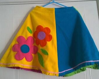 SALE** PixiTots fleece poncho flowers applique no hood multi colour