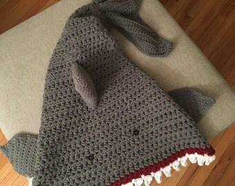 ADULT Crochet shark blanket|shark blanket