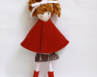 Carina, with red coat hand-made rag doll