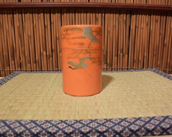 Japanese Tin Tea Canister / Tea Caddy Orange / Pine Tree and Crane