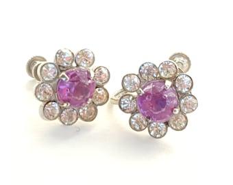 Sterling CORO Earrings~Vintage Screwback Earrings Signed Coro~Purple & White Rhinestones~Retro  Flower Earrings by JewelsandMetals.