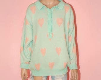 Vintage Pastel Fairy Kei Kawaii Heart Sweater Oversized Plus size Novelty Ugly Green Pink