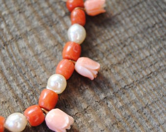 Hand strung Vintage Pearl Necklace Carved Shell Carnelian